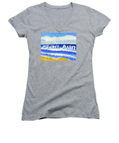 San Juan  Women's V-Neck T-Shirt (Junior Cut) by Dick Sauer