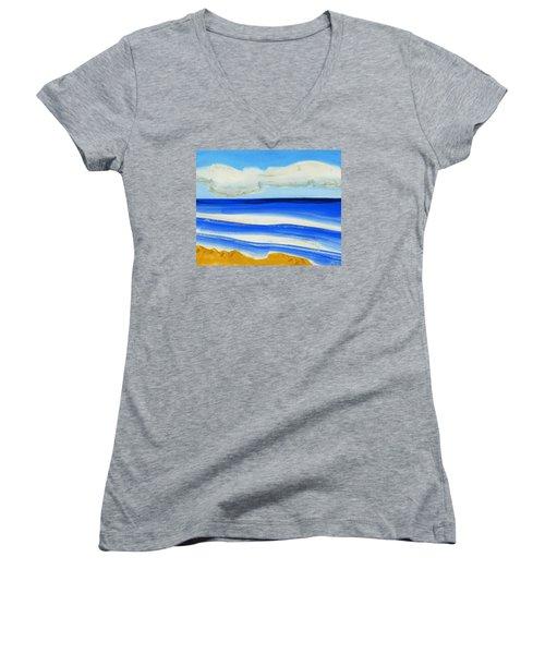 San Juan, Puerto Rico Women's V-Neck T-Shirt (Junior Cut) by Dick Sauer