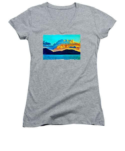 Women's V-Neck T-Shirt featuring the painting San Juan Seascape by Joan Reese