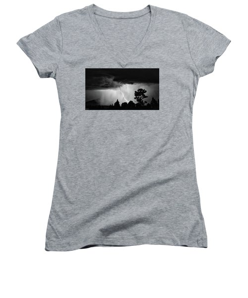 Women's V-Neck T-Shirt (Junior Cut) featuring the photograph San Juan Strike by Kevin Munro