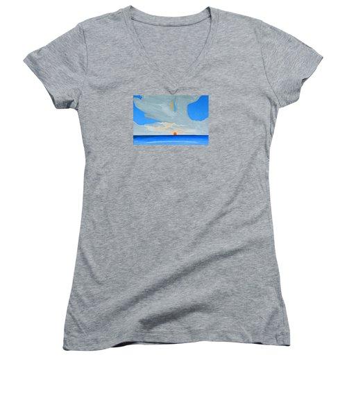 San Juan Sunrise Women's V-Neck T-Shirt (Junior Cut) by Dick Sauer