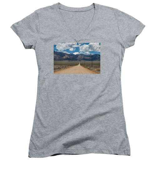 San Luis Valley Back Road Cruising Women's V-Neck T-Shirt (Junior Cut) by James BO Insogna