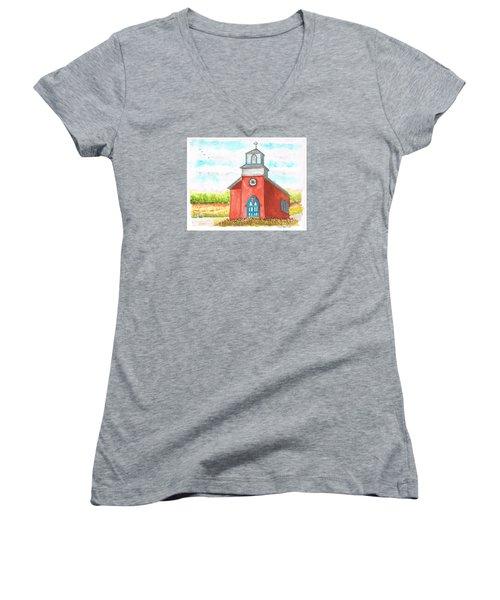 San Rafael Church In La Cueva, New Mexico Women's V-Neck T-Shirt (Junior Cut) by Carlos G Groppa