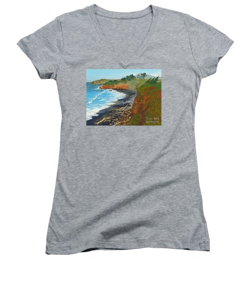 Women's V-Neck T-Shirt (Junior Cut) featuring the painting San Simeon Ca Coast by Katherine Young-Beck
