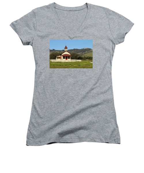 Women's V-Neck T-Shirt (Junior Cut) featuring the photograph San Simeon - Castle And Schoolhouse by Art Block Collections