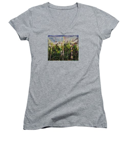 Women's V-Neck T-Shirt (Junior Cut) featuring the painting Sanative by Ron Richard Baviello