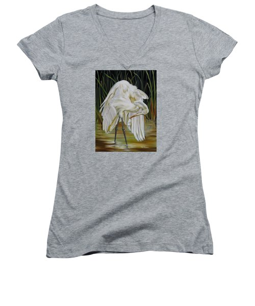 Women's V-Neck T-Shirt (Junior Cut) featuring the painting Sanctuary by Phyllis Beiser
