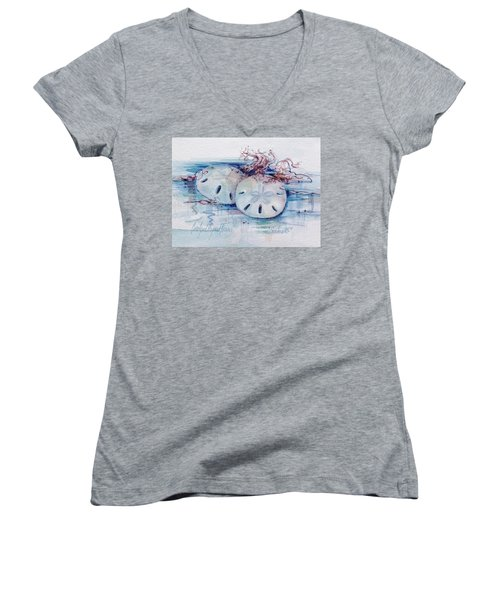 Women's V-Neck featuring the painting Sand Dollar Soulmates by Carolyn Utigard Thomas