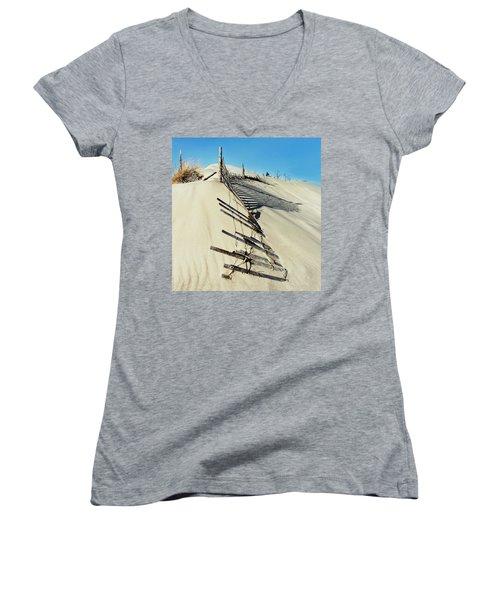 Sand Dune Fences And Shadows Women's V-Neck T-Shirt