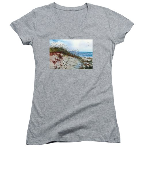 Sand Dunes And Sea Oats Women's V-Neck T-Shirt