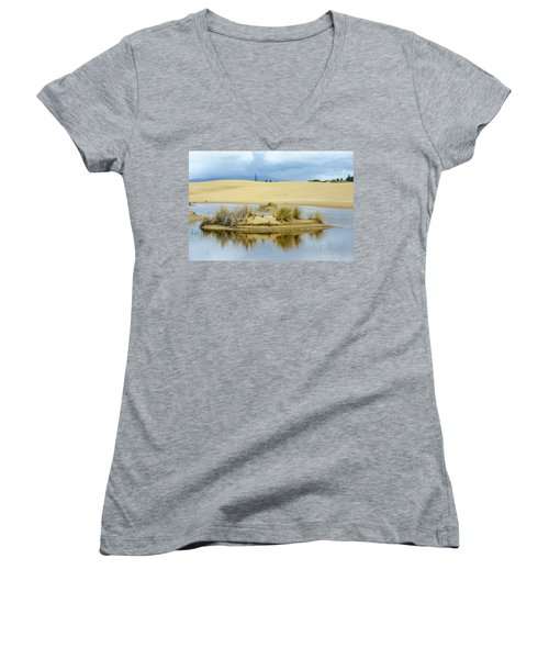 Sand Dunes And Water Women's V-Neck T-Shirt (Junior Cut) by Jerry Cahill