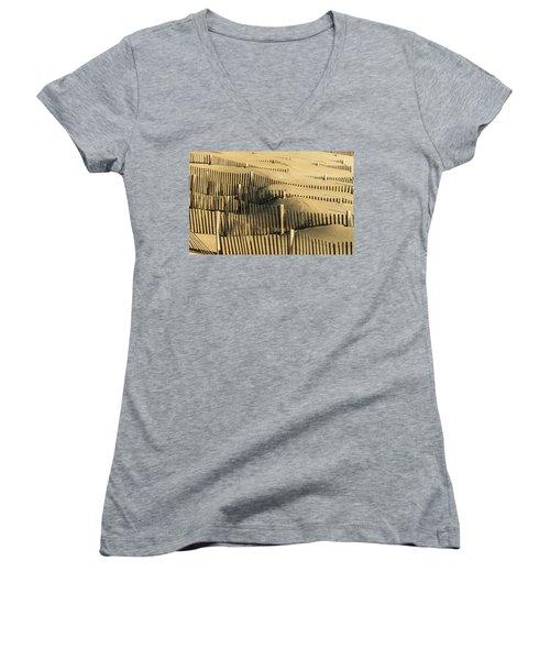 Sand Dunes Of The Outer Banks Women's V-Neck T-Shirt (Junior Cut)