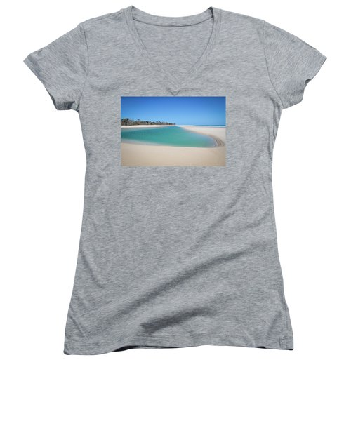 Sand Island Paradise Women's V-Neck (Athletic Fit)