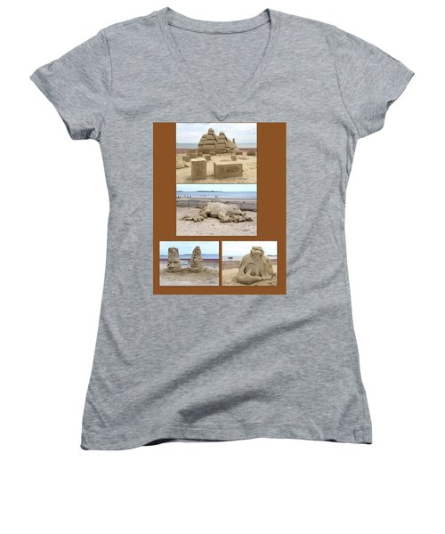 Sand Sculpture Collage Women's V-Neck (Athletic Fit)