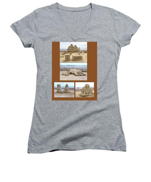 Sand Sculpture Collage Women's V-Neck T-Shirt