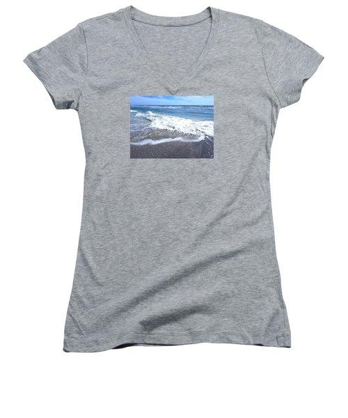 Women's V-Neck T-Shirt (Junior Cut) featuring the photograph Sand, Sea, Sun No. 1 by Ginny Schmidt