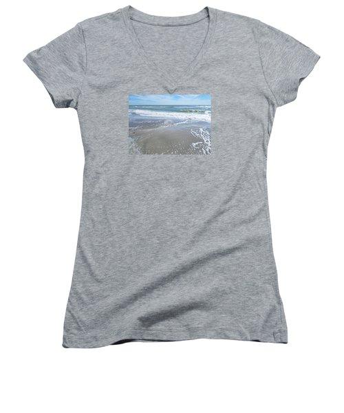 Women's V-Neck T-Shirt (Junior Cut) featuring the photograph Sand, Sea, Sun, No. 3 by Ginny Schmidt