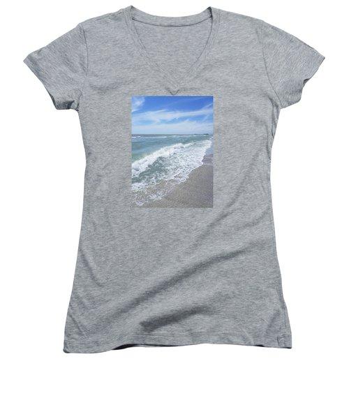 Sand, Sea, Sun, No.2 Women's V-Neck T-Shirt (Junior Cut) by Ginny Schmidt