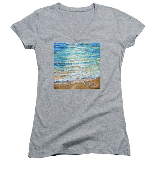 Sanderlings Women's V-Neck T-Shirt (Junior Cut)