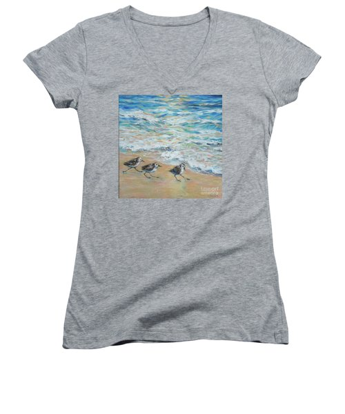 Sanderlings Running Women's V-Neck T-Shirt