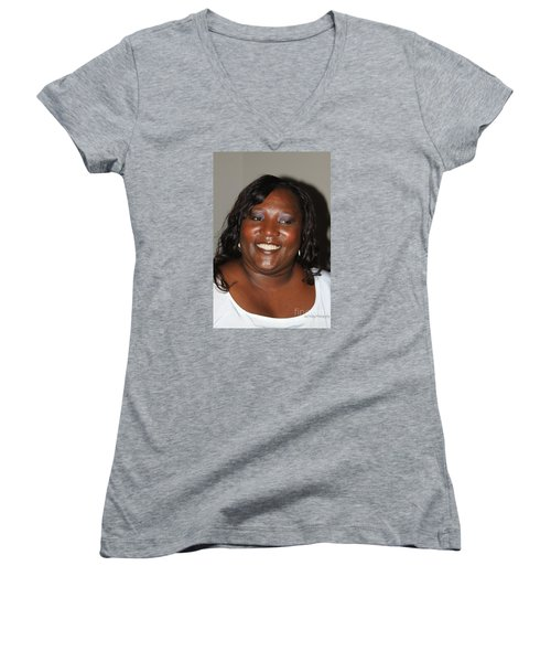 Sanderson - 4540 Women's V-Neck T-Shirt (Junior Cut) by Joe Finney