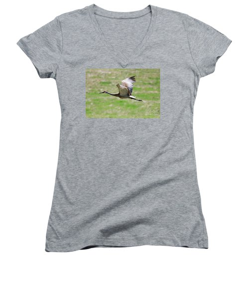 Sandhill Crane In Flight Women's V-Neck (Athletic Fit)