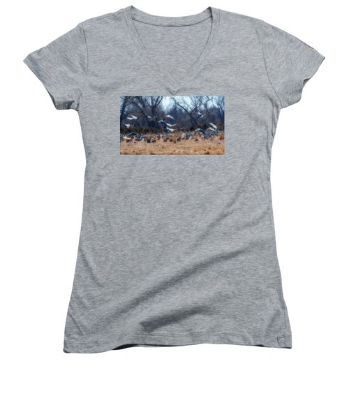 Sandhill Crane Taking Flight Women's V-Neck T-Shirt (Junior Cut) by Edward Peterson