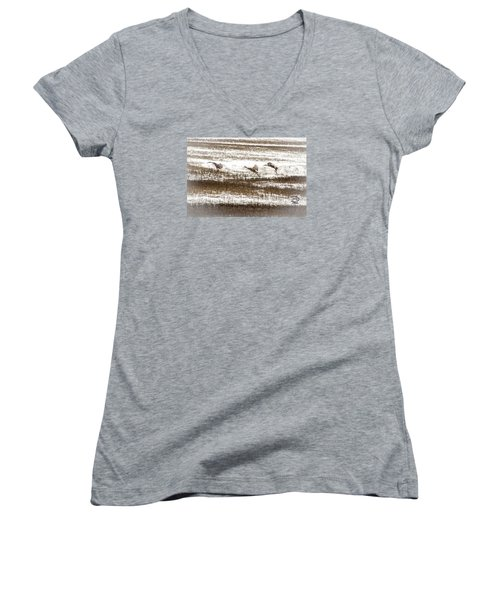 Sandhill Touch Down Women's V-Neck T-Shirt (Junior Cut) by Daniel Hebard