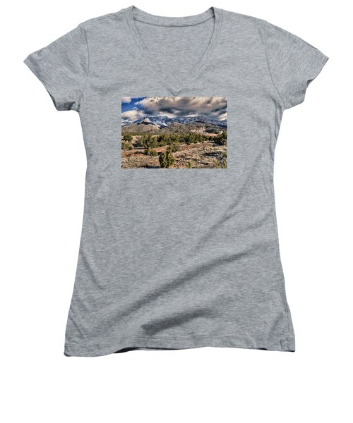 Sandia Mountain Landscape Women's V-Neck T-Shirt (Junior Cut) by Alan Toepfer