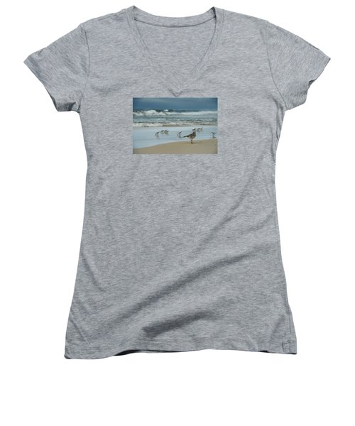 Women's V-Neck T-Shirt (Junior Cut) featuring the photograph Sandpiper Beach by Renee Hardison