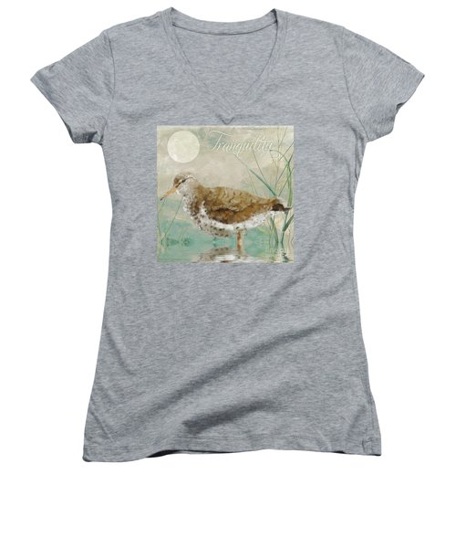 Sandpiper II Women's V-Neck T-Shirt (Junior Cut) by Mindy Sommers
