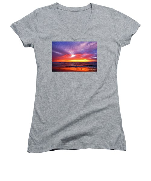 Sandpiper Sunset Ventura California Women's V-Neck T-Shirt