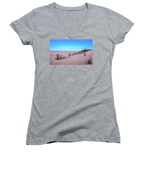 Women's V-Neck T-Shirt (Junior Cut) featuring the photograph Sand  Fences On The Bogue Banks by John Harding