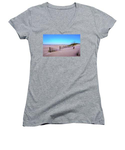 Sand  Fences On The Bogue Banks Women's V-Neck T-Shirt