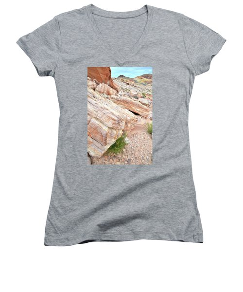 Women's V-Neck T-Shirt (Junior Cut) featuring the photograph Sandstone Along Park Road In Valley Of Fire by Ray Mathis