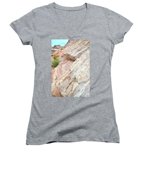Women's V-Neck T-Shirt (Junior Cut) featuring the photograph Sandstone Cove In Valley Of Fire by Ray Mathis