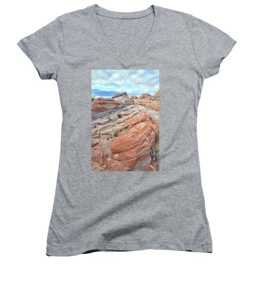 Sandstone Crest In Valley Of Fire Women's V-Neck T-Shirt (Junior Cut) by Ray Mathis