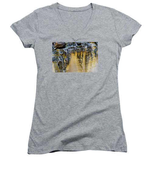 Women's V-Neck T-Shirt featuring the photograph Sandstone Detail Syd01 by Werner Padarin