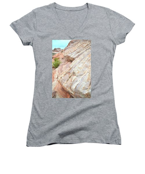 Women's V-Neck T-Shirt (Junior Cut) featuring the photograph Sandstone Feet In Valley Of Fire by Ray Mathis