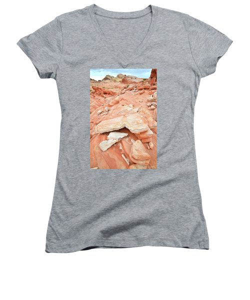 Women's V-Neck T-Shirt (Junior Cut) featuring the photograph Sandstone Heart In Valley Of Fire by Ray Mathis