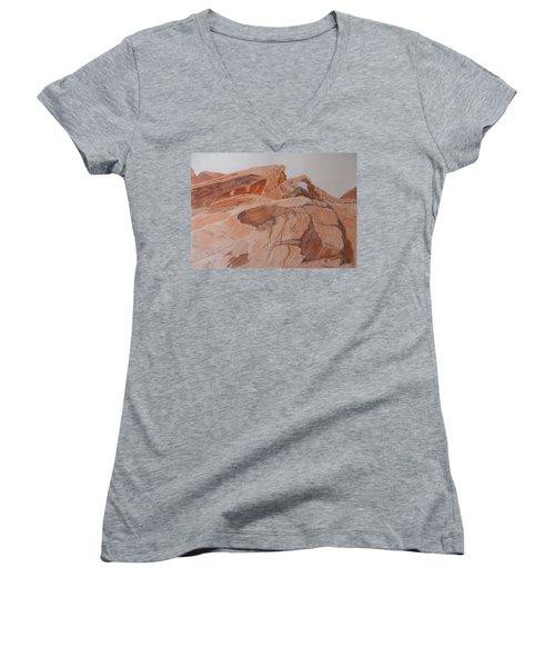 Sandstone Rainbow Women's V-Neck T-Shirt (Junior Cut) by Joel Deutsch