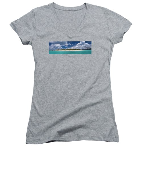 Women's V-Neck T-Shirt (Junior Cut) featuring the photograph Sandy Cay Beach British Virgin Islands Panoramic by Adam Romanowicz