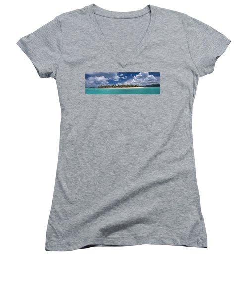 Women's V-Neck T-Shirt featuring the photograph Sandy Cay Beach British Virgin Islands Panoramic by Adam Romanowicz