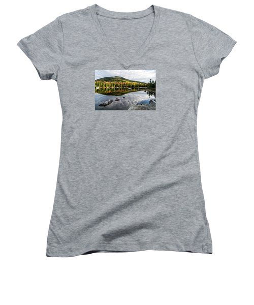 Reflection Sandy Stream Pond Me. Women's V-Neck T-Shirt (Junior Cut) by Michael Hubley