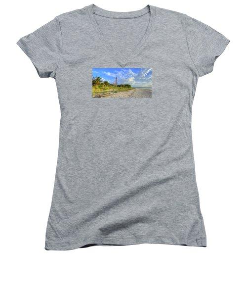Sanibel Light House Women's V-Neck T-Shirt (Junior Cut)