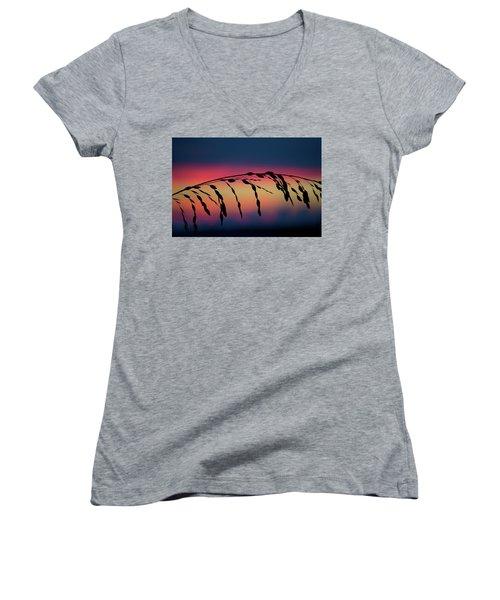 Women's V-Neck T-Shirt (Junior Cut) featuring the photograph Sanibel Sea Oats by Melanie Moraga