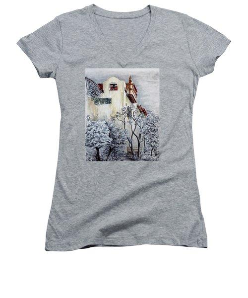 Santa Barbara Courthouse Bell Tower Women's V-Neck T-Shirt (Junior Cut) by Danuta Bennett