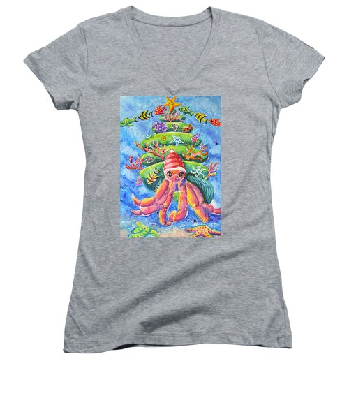 Women's V-Neck T-Shirt (Junior Cut) featuring the painting Santa Crab by Li Newton