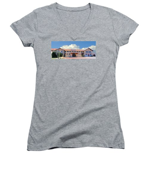 Santa Fe Depot In Amarillo Texas Women's V-Neck T-Shirt (Junior Cut) by Janette Boyd