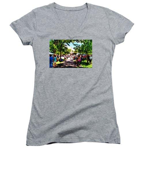 Santa Fe New Mexico Women's V-Neck T-Shirt (Junior Cut) by Joseph Frank Baraba